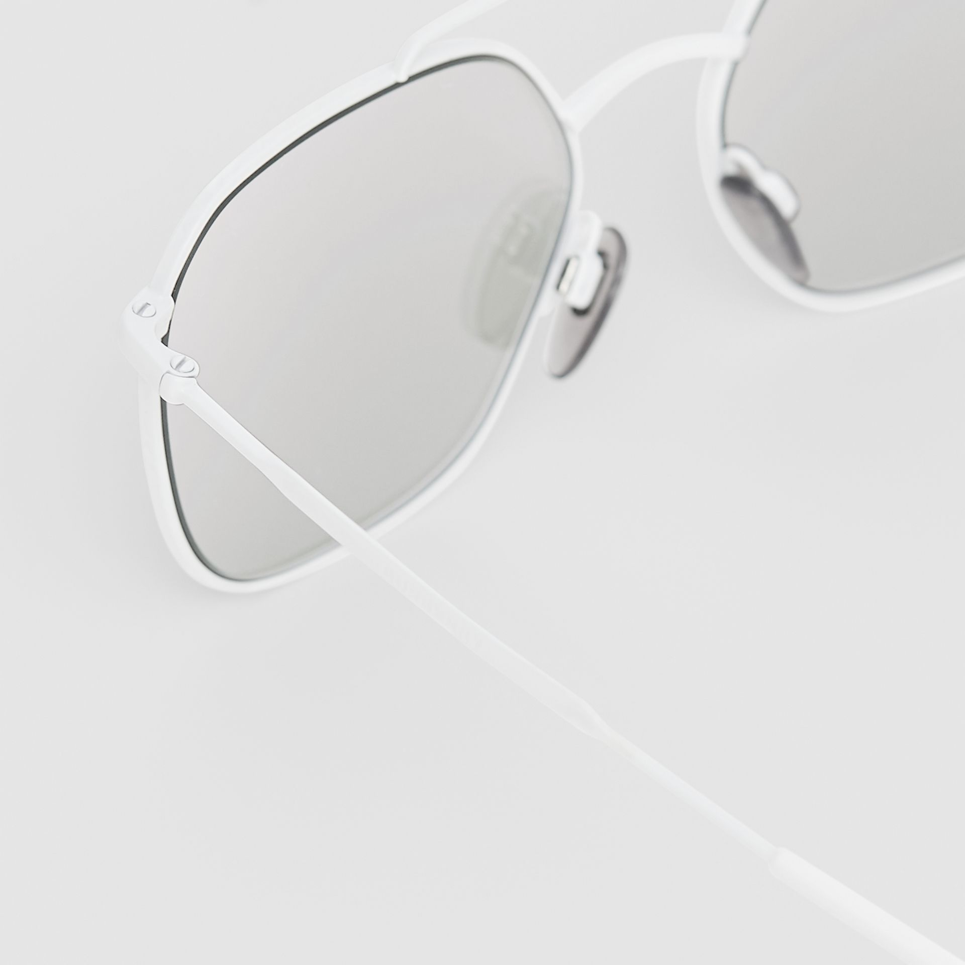 Top Bar Detail Square Pilot Sunglasses in Matt White - Men | Burberry - gallery image 1