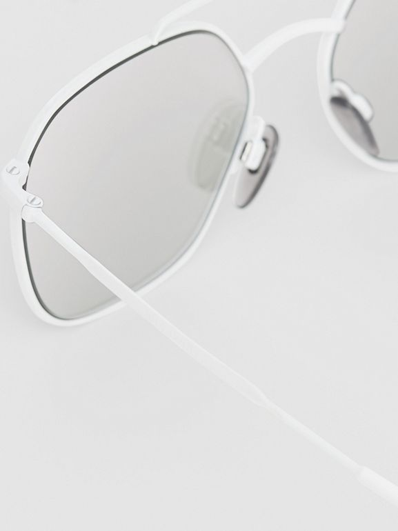 Top Bar Detail Square Pilot Sunglasses in Matt White - Men | Burberry - cell image 1