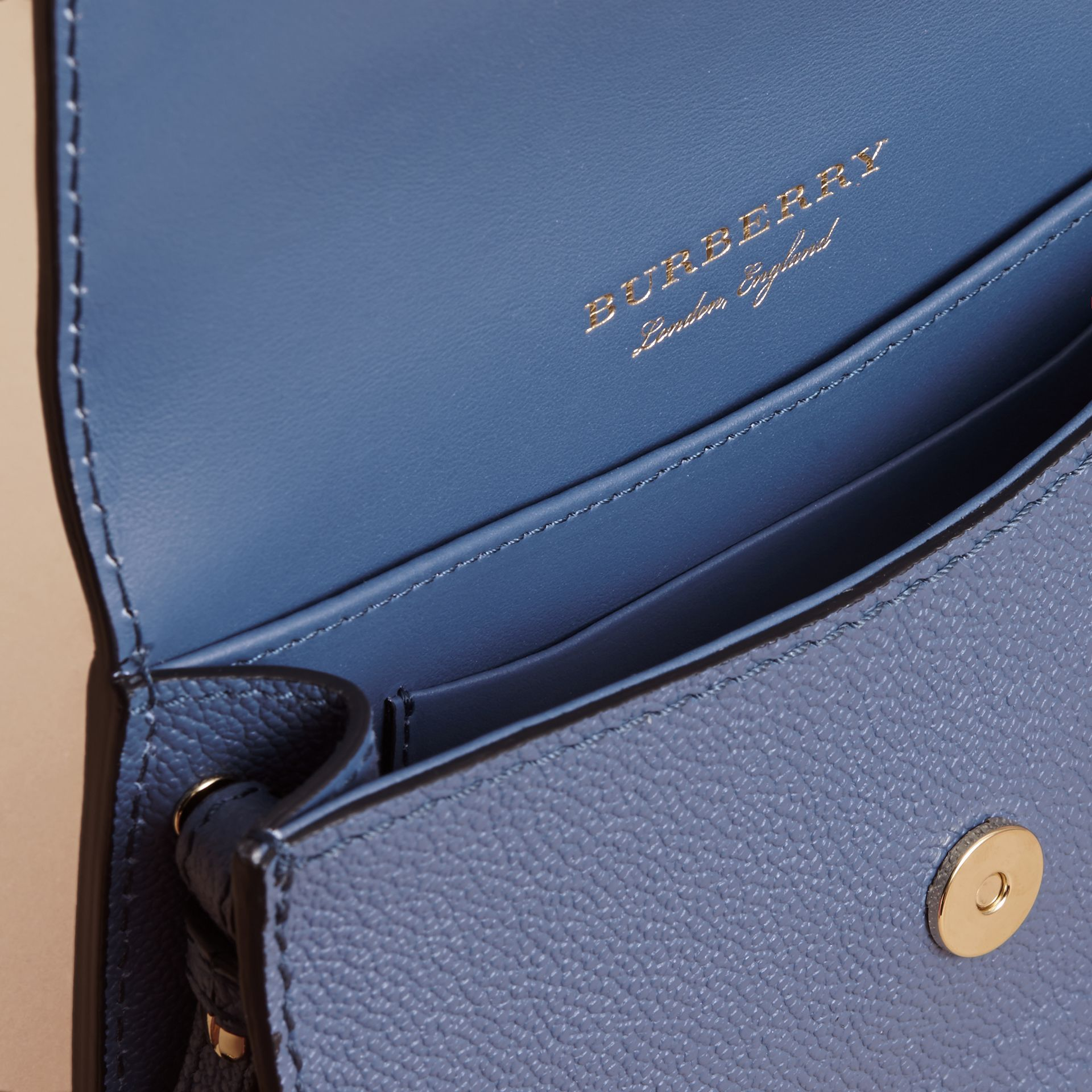 The Mini Buckle Bag in Grainy Leather in Steel Blue - Women | Burberry - gallery image 4