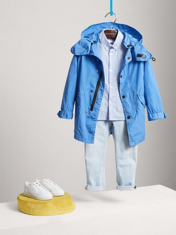 Detachable Hood Lightweight Parka Coat in Chalk Blue