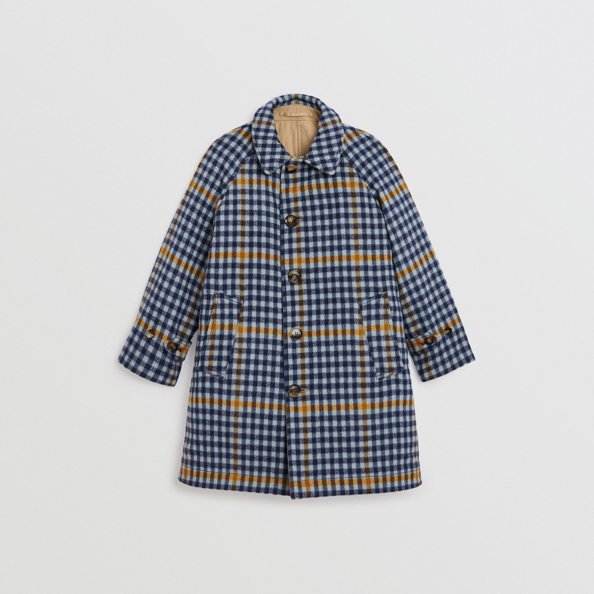 Reversible Check Wool and Cotton Car Coat in Canvas Blue | Burberry - gallery image 0