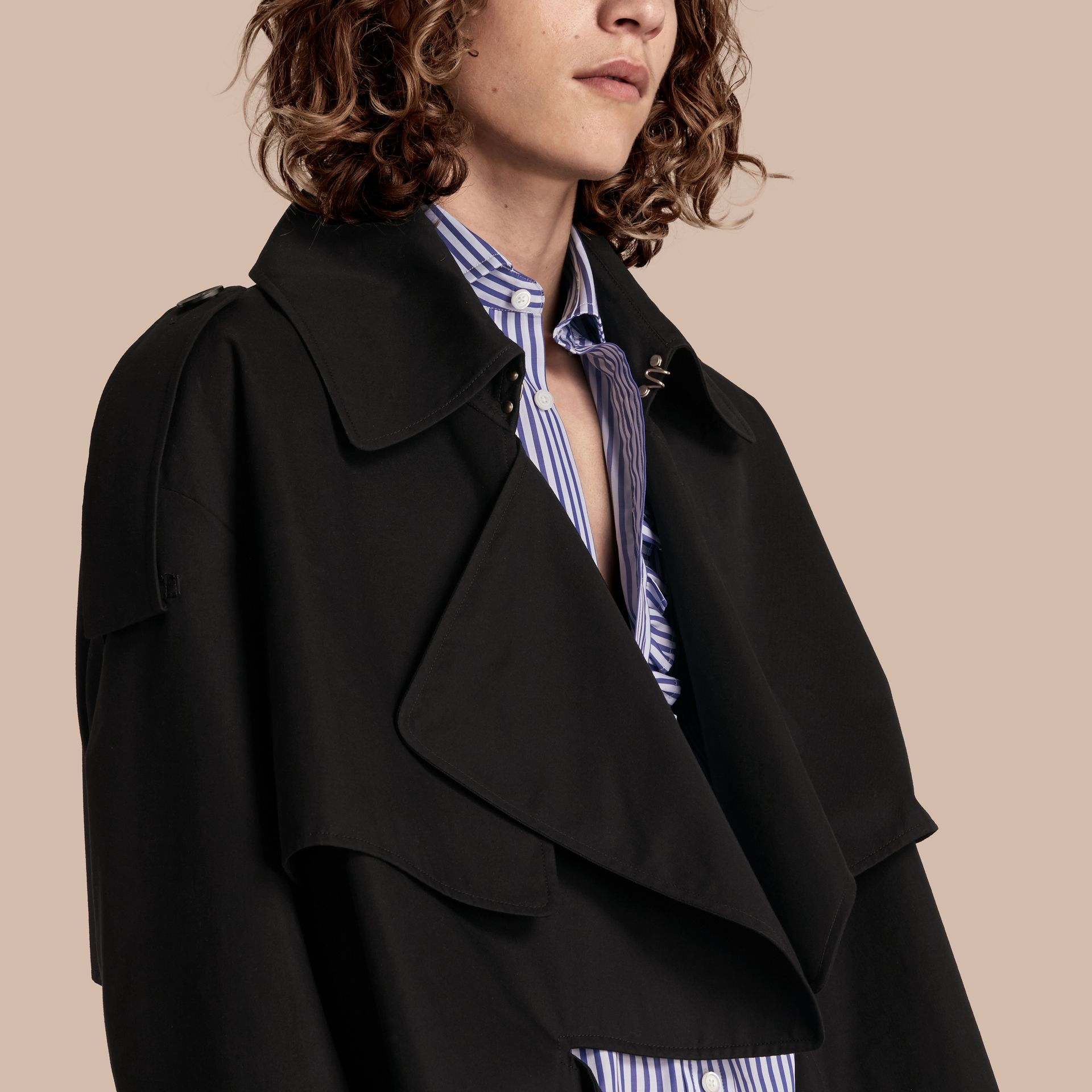 Black Cotton Gabardine Deconstructed Trench Jacket - gallery image 5