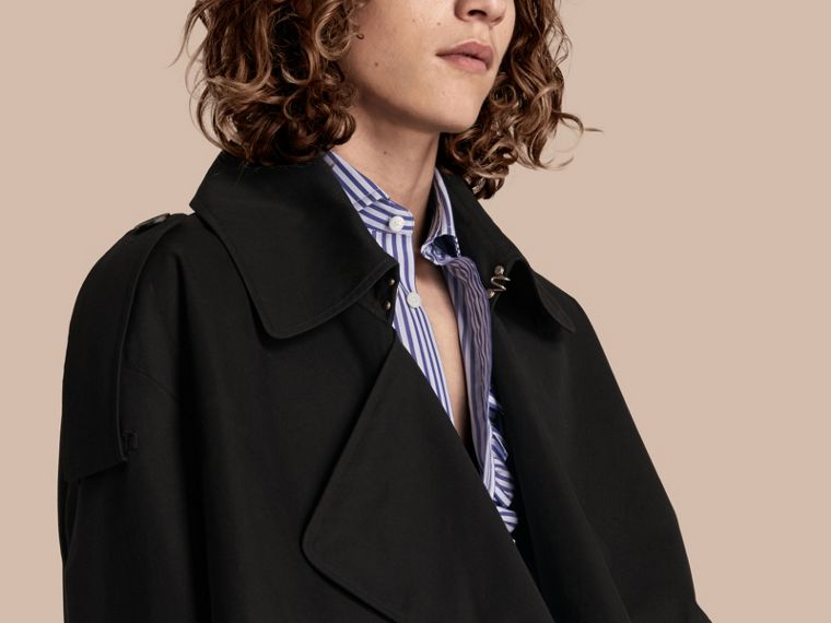 Black Cotton Gabardine Deconstructed Trench Jacket - cell image 4