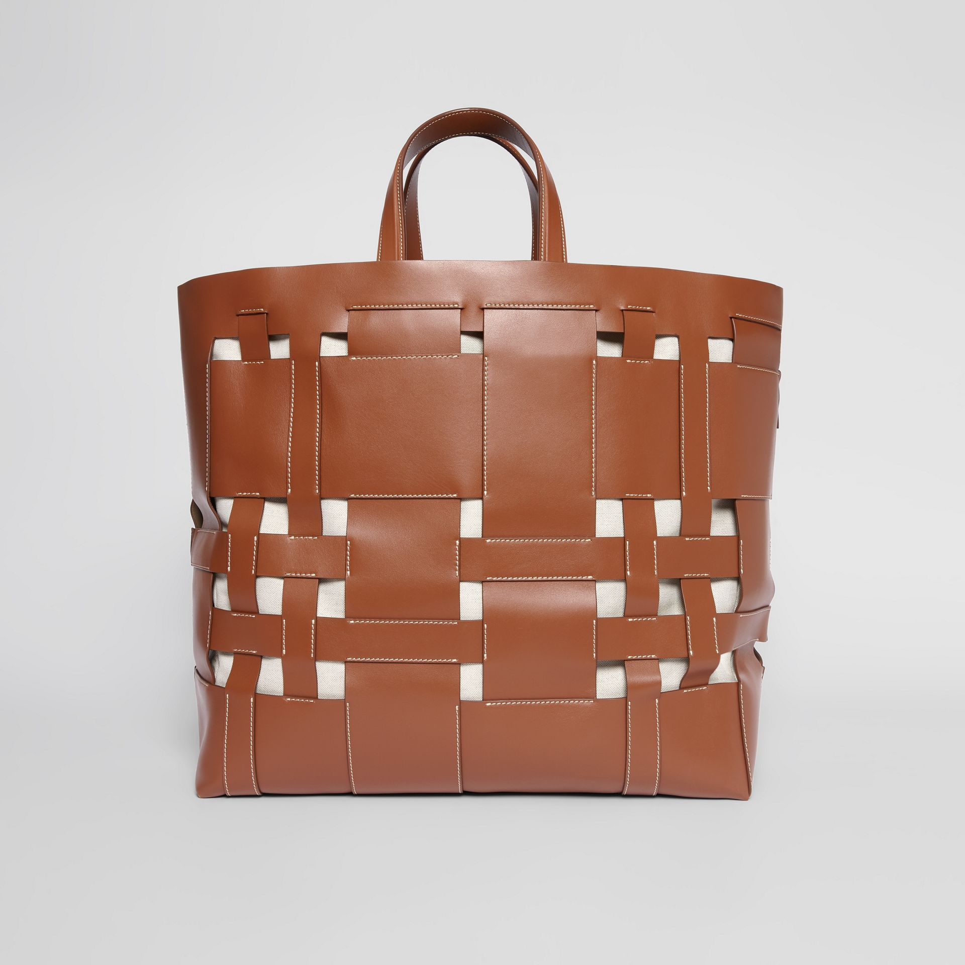 Large Leather Foster Tote in Malt Brown - Women | Burberry - gallery image 7