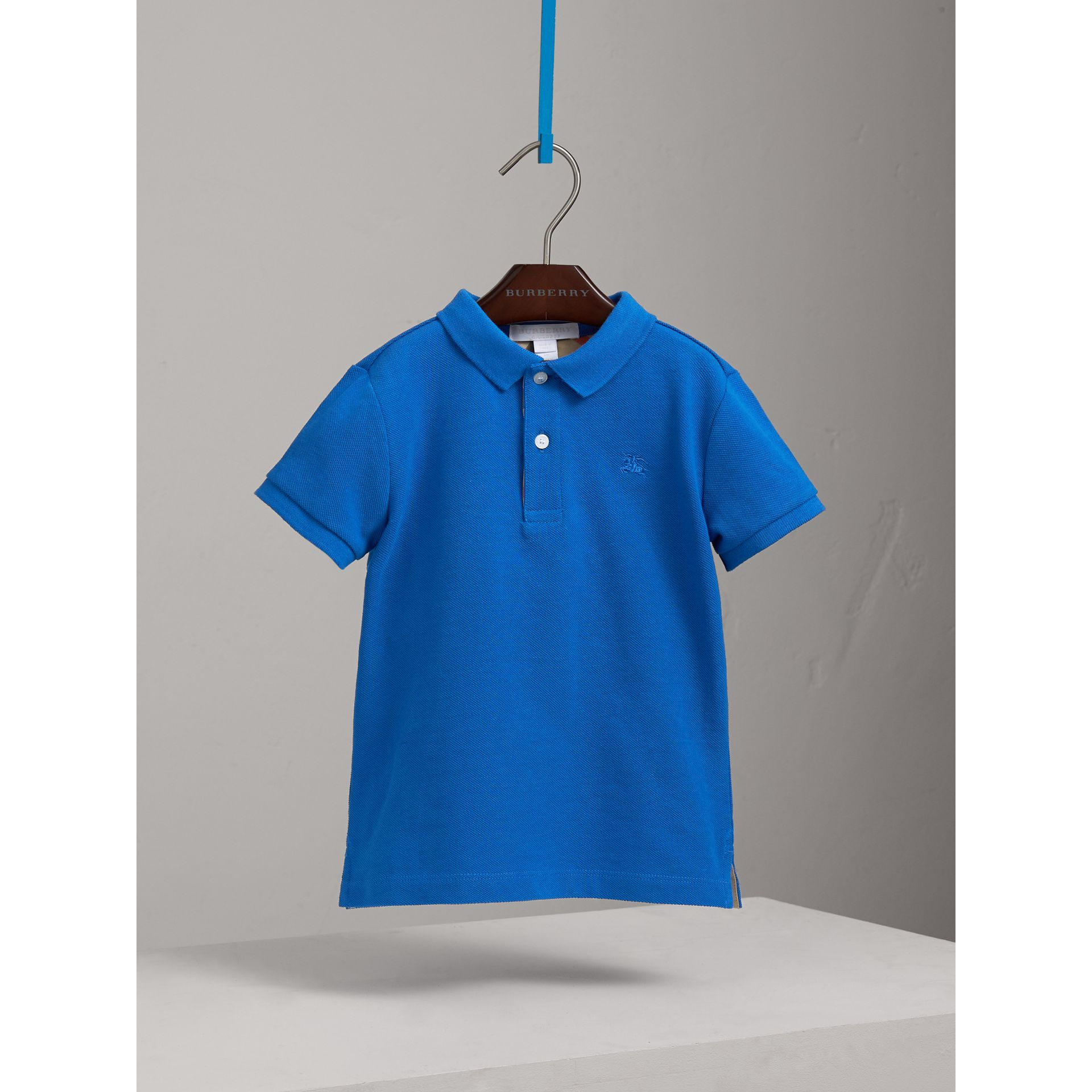 Check Placket Polo Shirt in Cobalt Blue | Burberry - gallery image 0