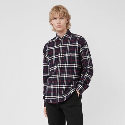 Hombre en a franela cuadros Burberry de Marino Azul Camisa algodón 8Hd6xqxp