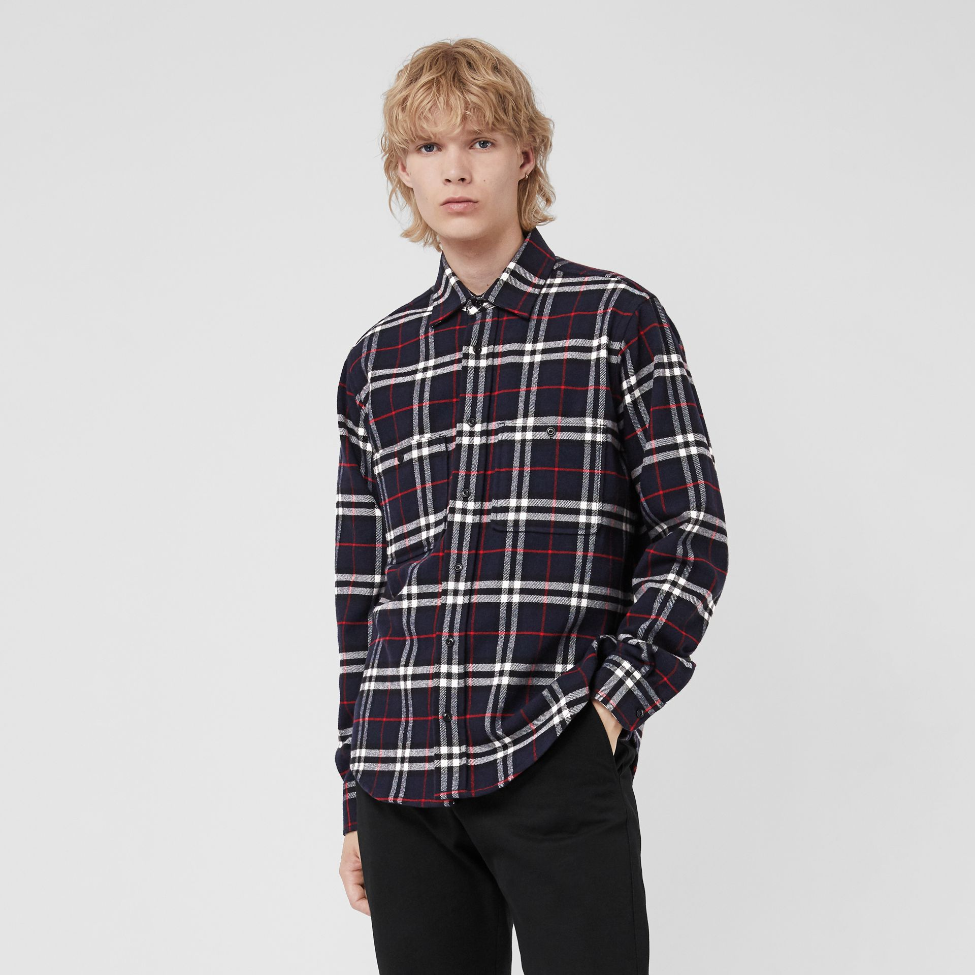 Check Cotton Flannel Shirt in Navy - Men | Burberry United Kingdom - gallery image 0