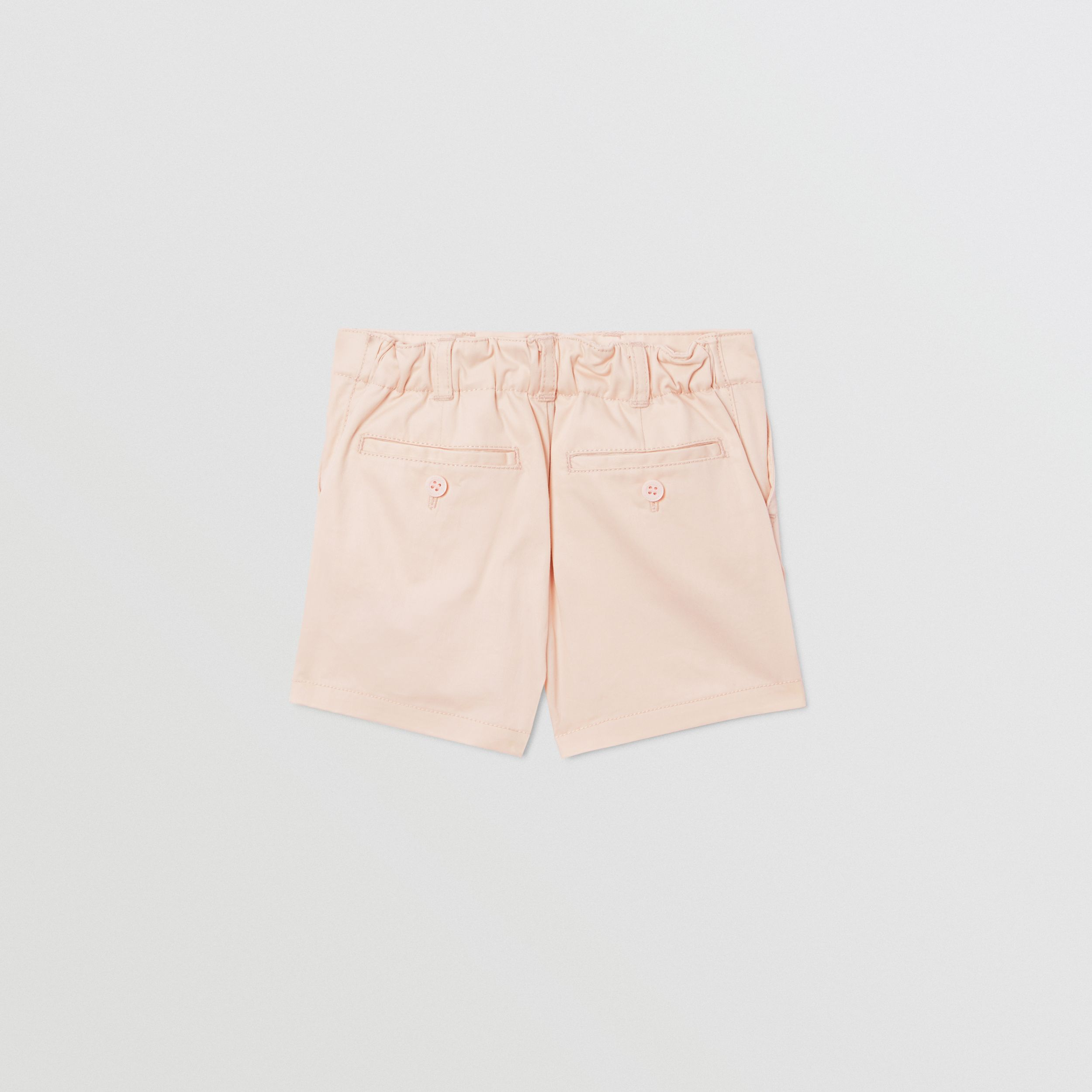 Embroidered Logo Cotton Shorts in Soft Pink - Children | Burberry - 4