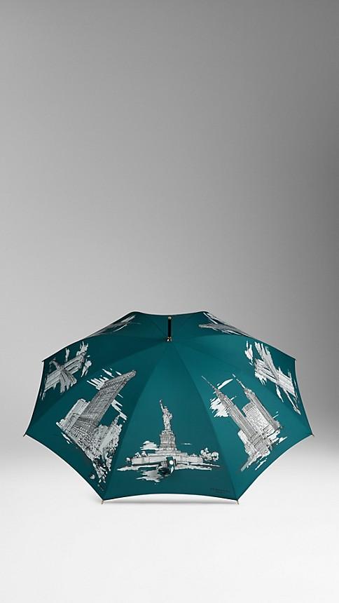 Dark cyan print New York Landmarks Walking Umbrella - Image 3