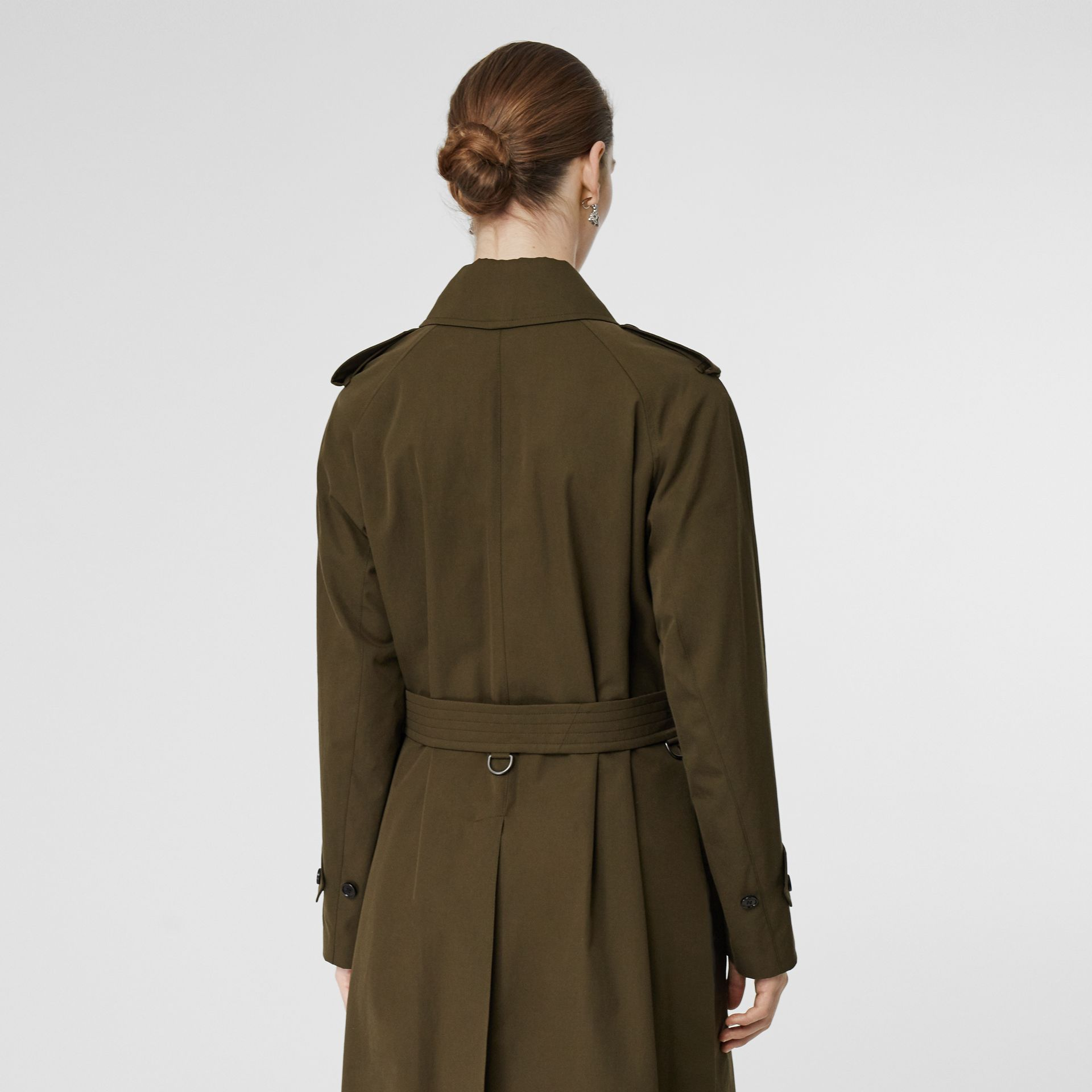 Tropical Gabardine Belted Car Coat in Dark Military Khaki - Women | Burberry - gallery image 2