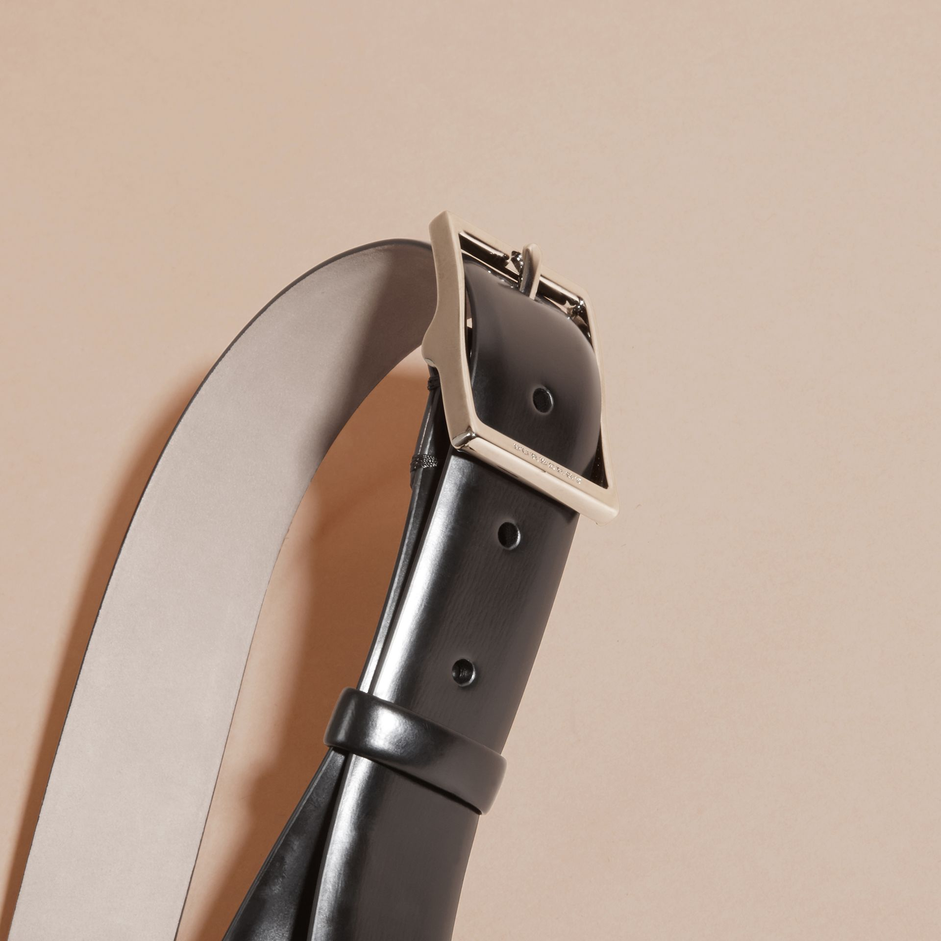 Bridle Leather Belt in Black - Men | Burberry - gallery image 2