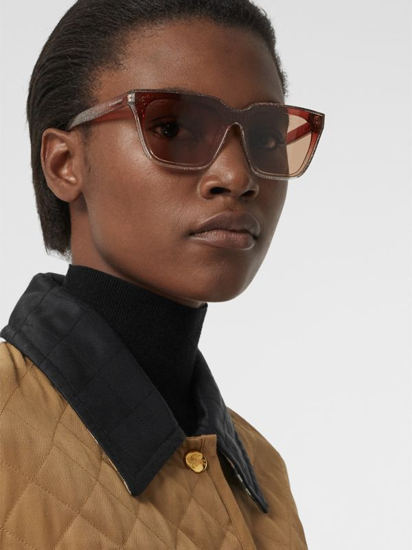 Glitter Detail Square Frame Shield Sunglasses in Pink - Women | Burberry - cell image 2