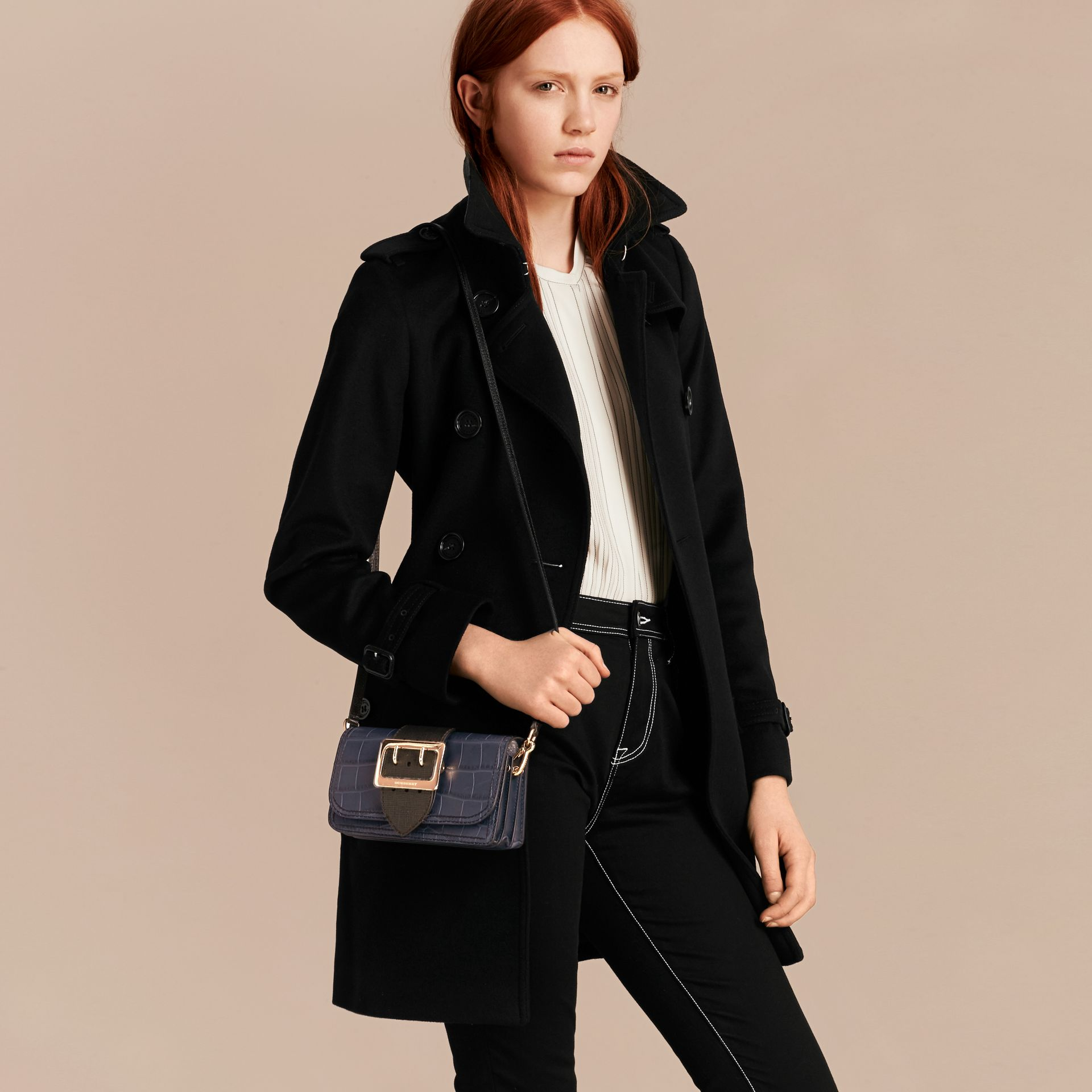 The Small Buckle Bag in Alligator and Leather in Navy / Black - gallery image 4