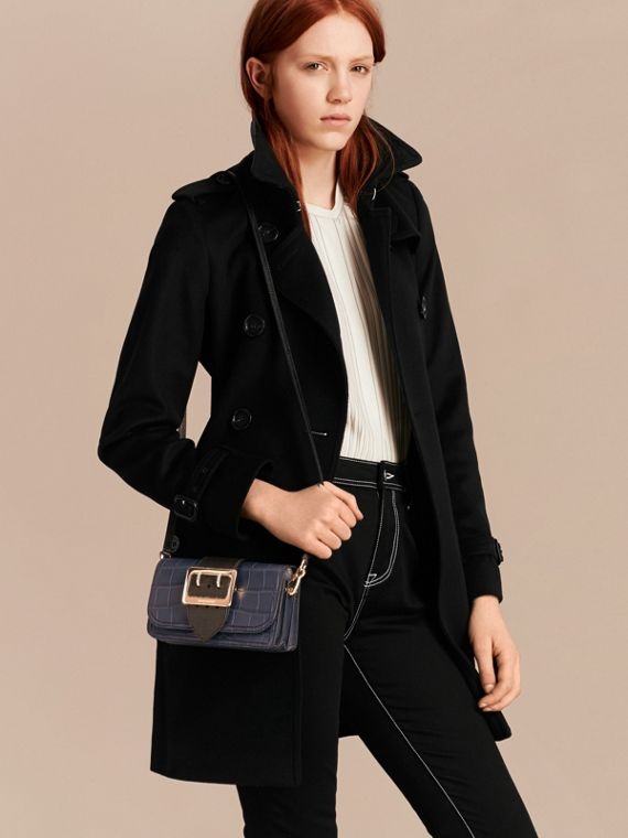 The Small Buckle Bag in Alligator and Leather in Navy / Black - cell image 3