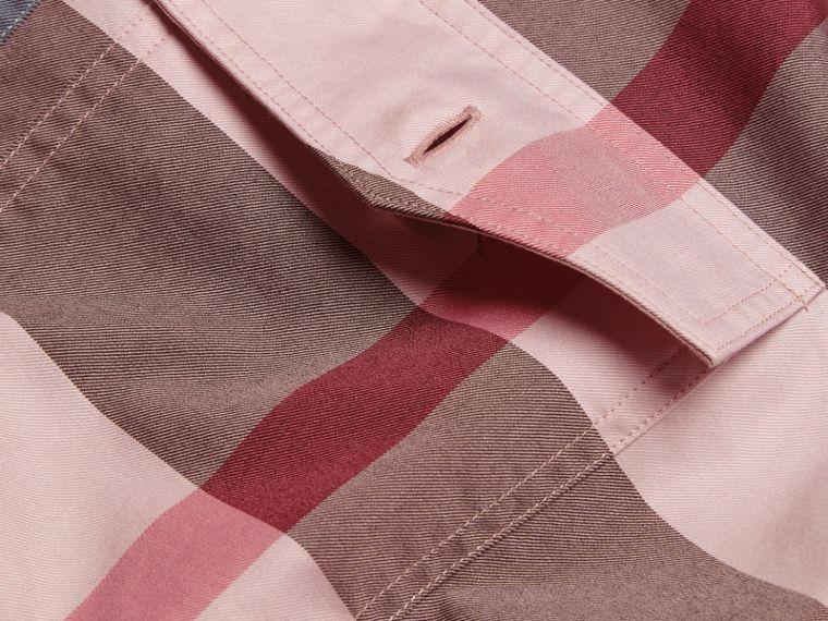 Check Cotton Poplin Shirt Ash Rose - cell image 1