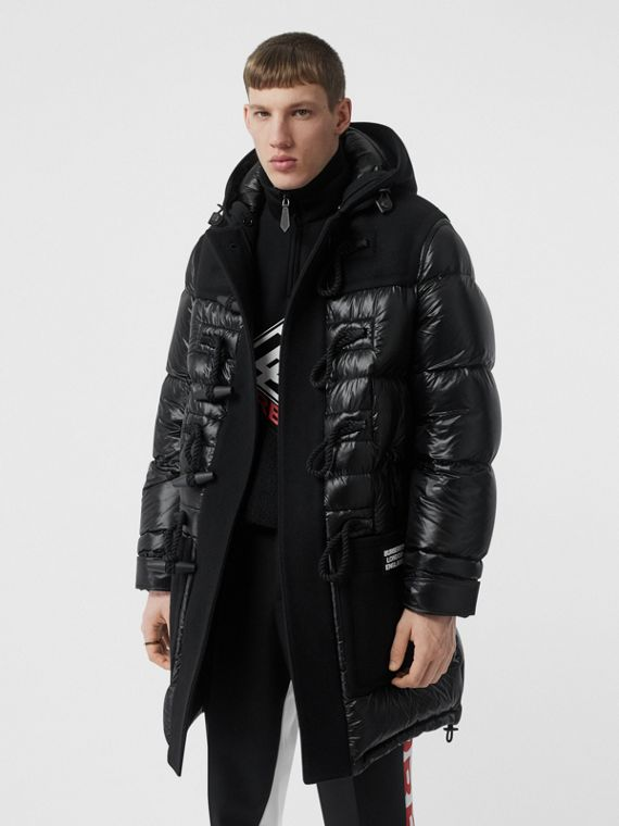 Technical Wool Detail Puffer Duffle Coat in Black