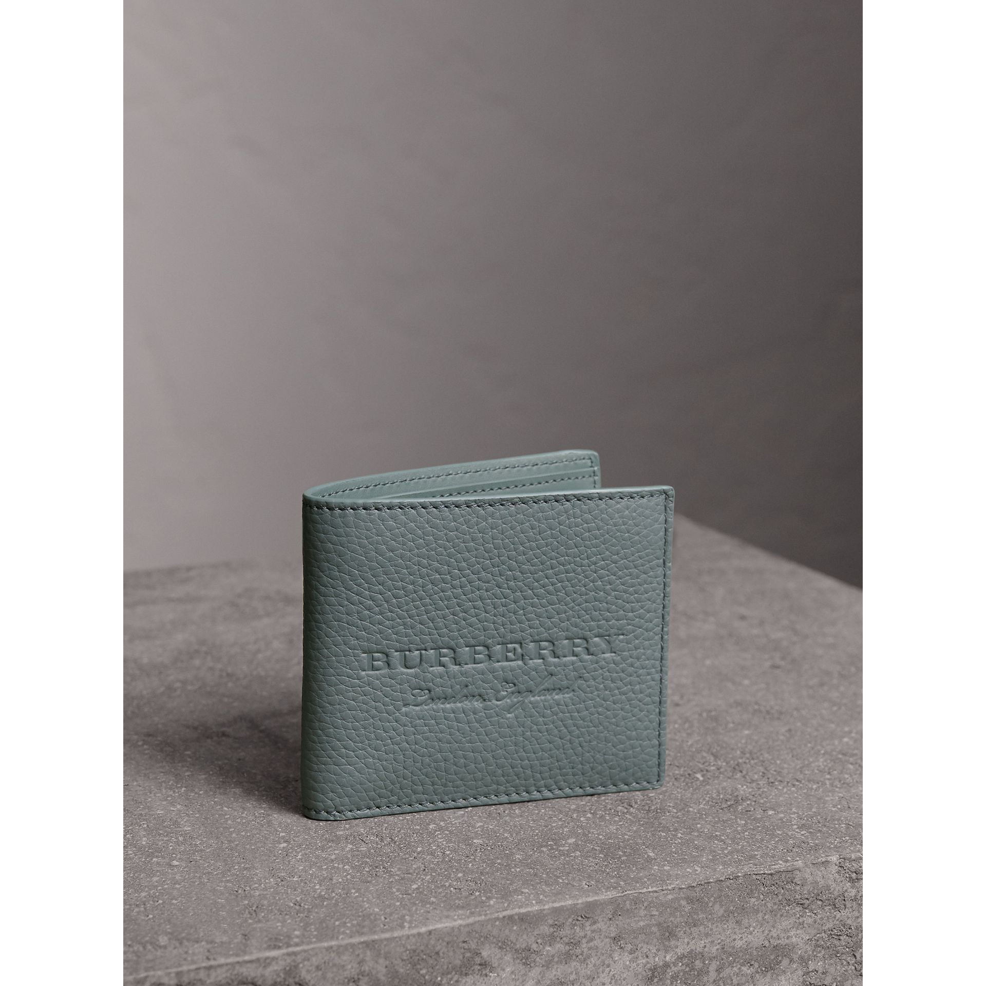 Embossed Leather Bifold Wallet in Dusty Teal Blue - Men | Burberry - gallery image 1