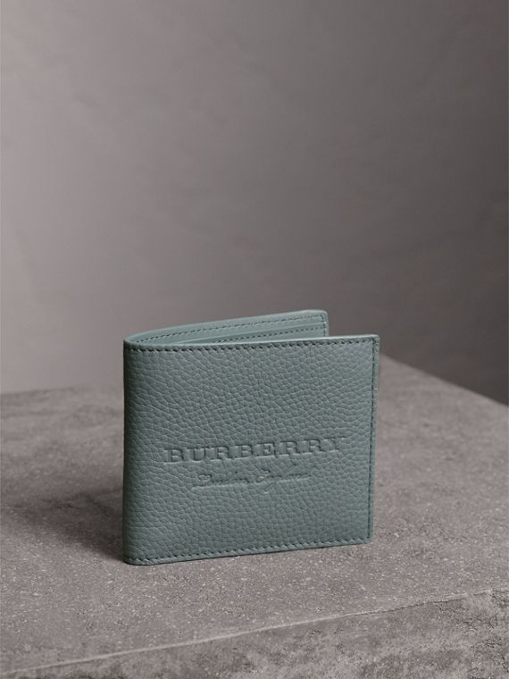 Embossed Leather Bifold Wallet in Dusty Teal Blue
