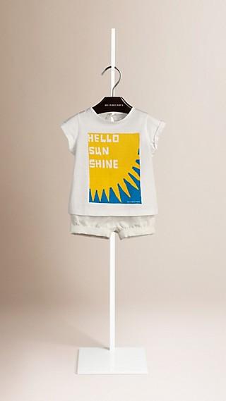 T-shirt en coton à motif Hello Sunshine