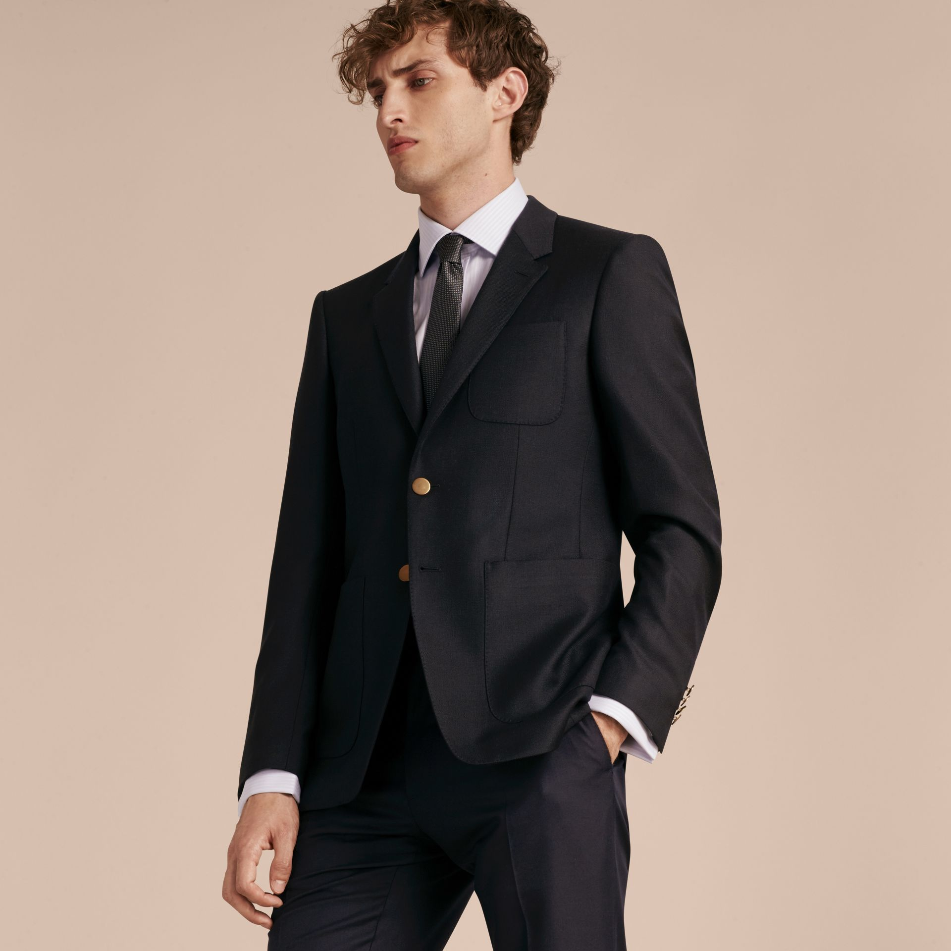 Navy Modern Fit Tailored Wool Half-canvas Jacket - gallery image 5