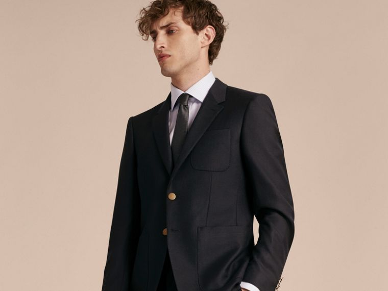 Navy Modern Fit Tailored Wool Half-canvas Jacket - cell image 4