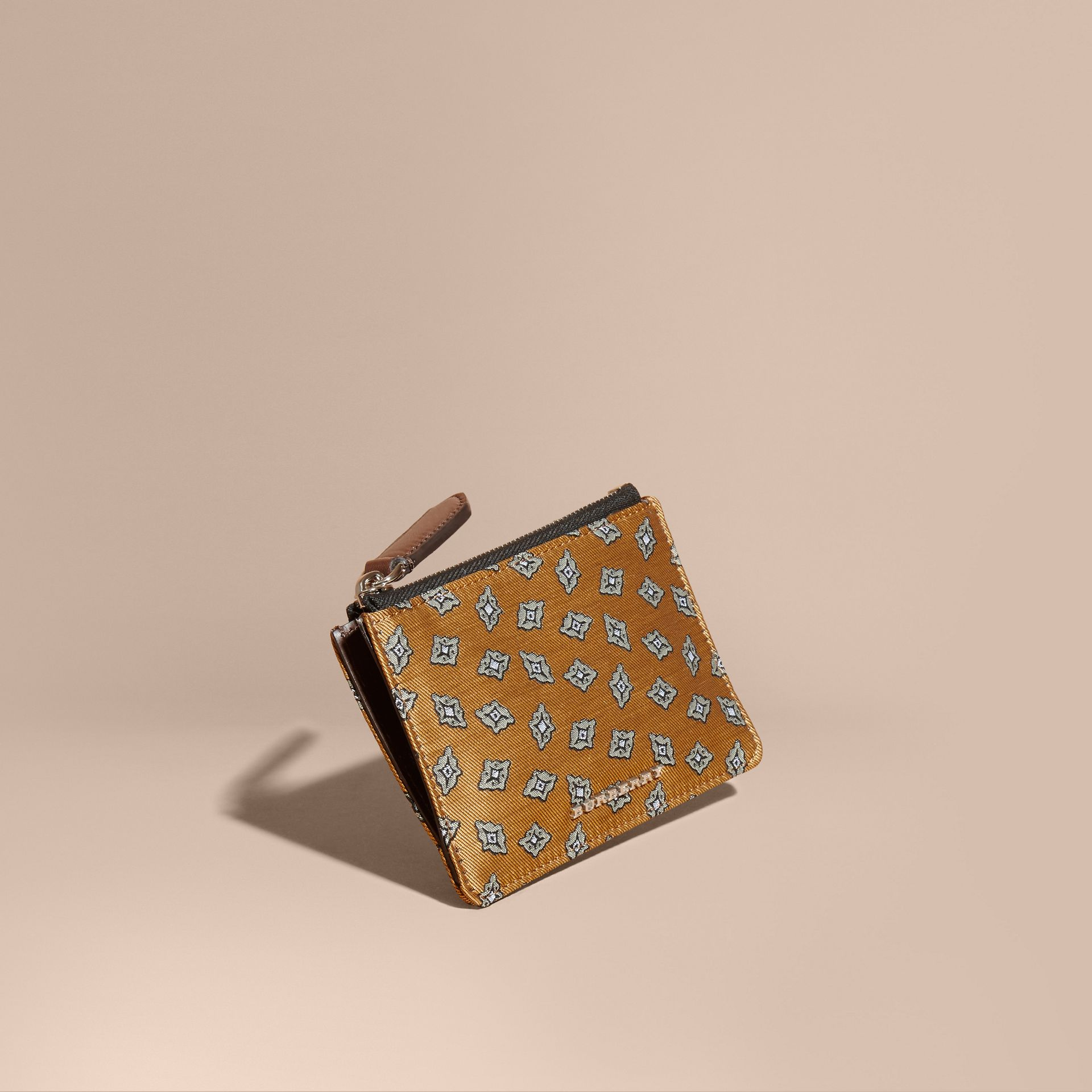 Citrus yellow Geometric Tile Jacquard Zip-top Wallet Citrus Yellow - gallery image 1