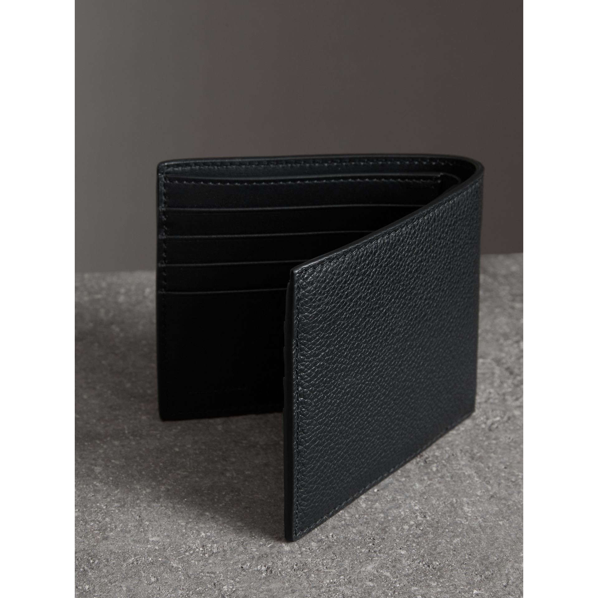 Grainy Leather International Bifold Wallet in Black - Men | Burberry Australia - gallery image 2