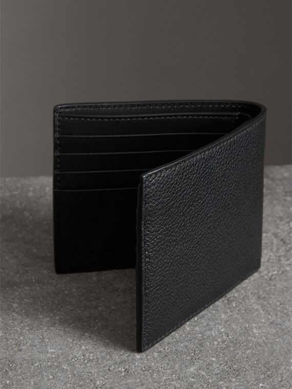 Grainy Leather International Bifold Wallet in Black - Men | Burberry Australia - cell image 2