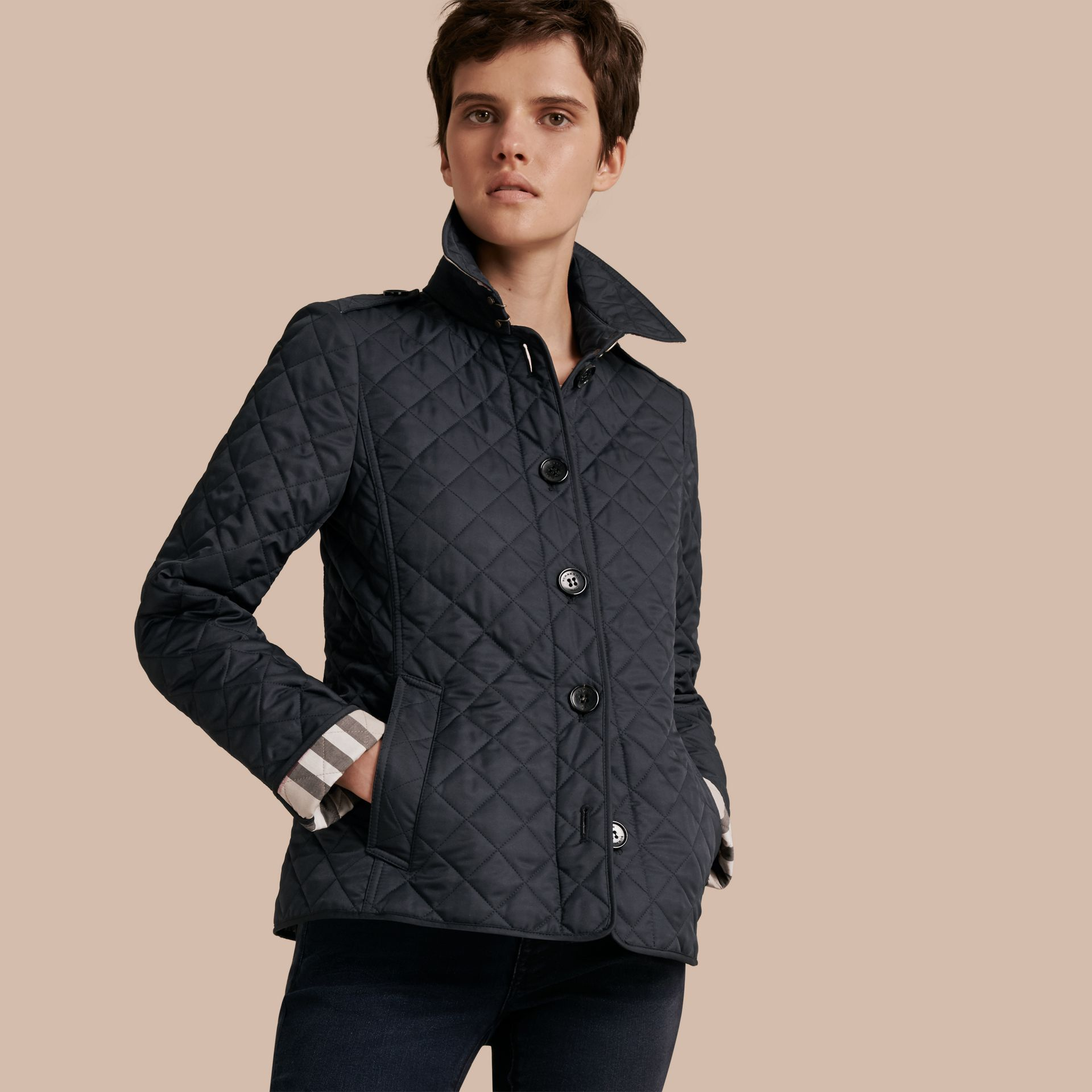 Navy Diamond Quilted Jacket Navy - gallery image 1
