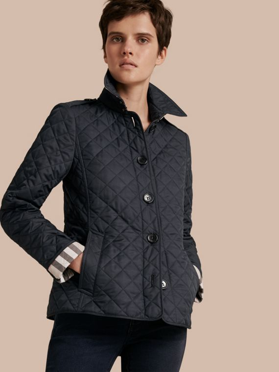 Diamond Quilted Jacket Navy