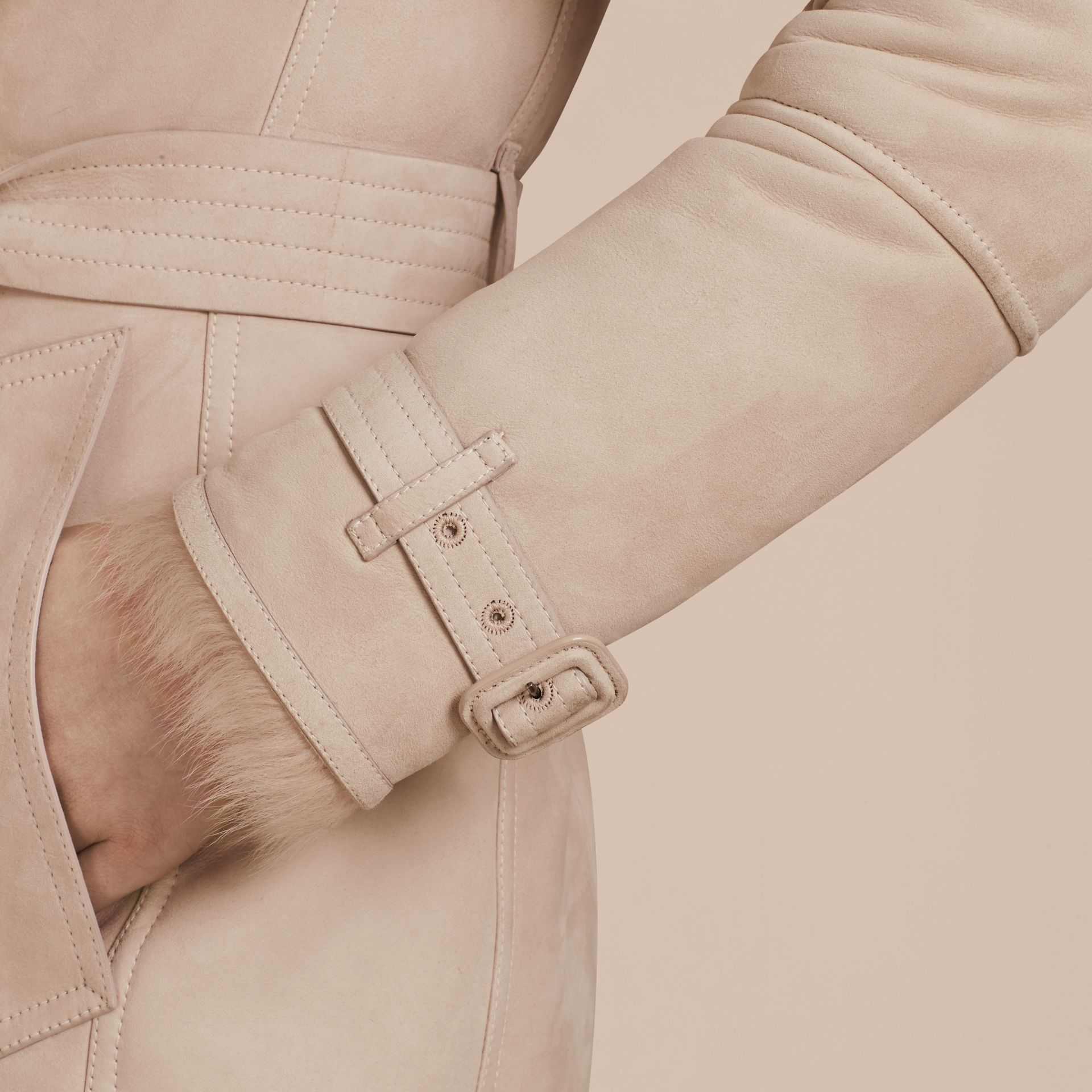 Chalk pink Shearling Trench Coat Chalk Pink - gallery image 5