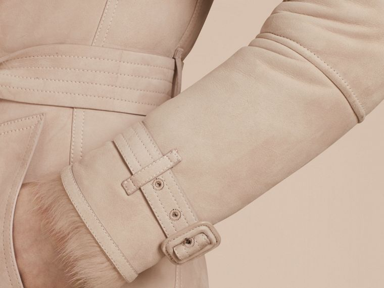 Chalk pink Shearling Trench Coat Chalk Pink - cell image 4