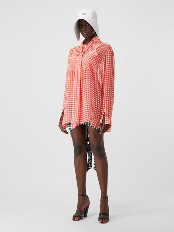 小方格絲綢雪紡蝴蝶結女裝襯衫 (紅色)