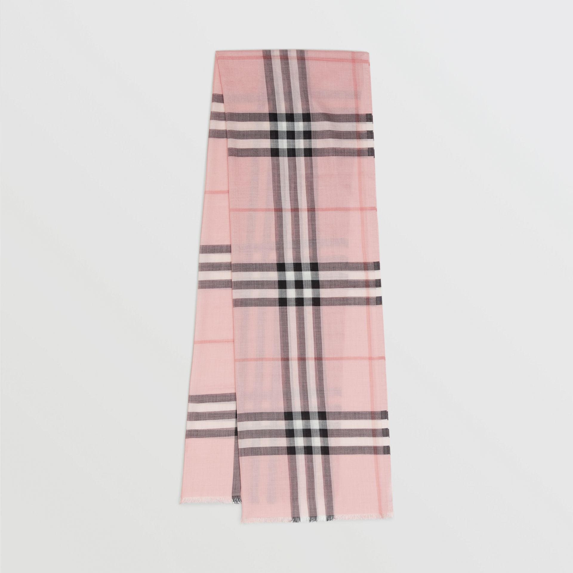 Lightweight Check Wool and Silk Scarf in Ash Rose | Burberry Canada - gallery image 0