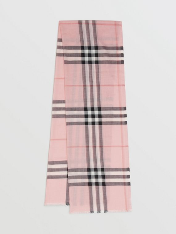 Lightweight Check Wool and Silk Scarf in Ash Rose