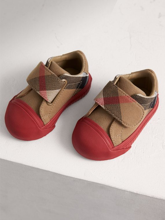 Sneakers en coton House check et cuir (Classique/rouge Parade) | Burberry - cell image 3