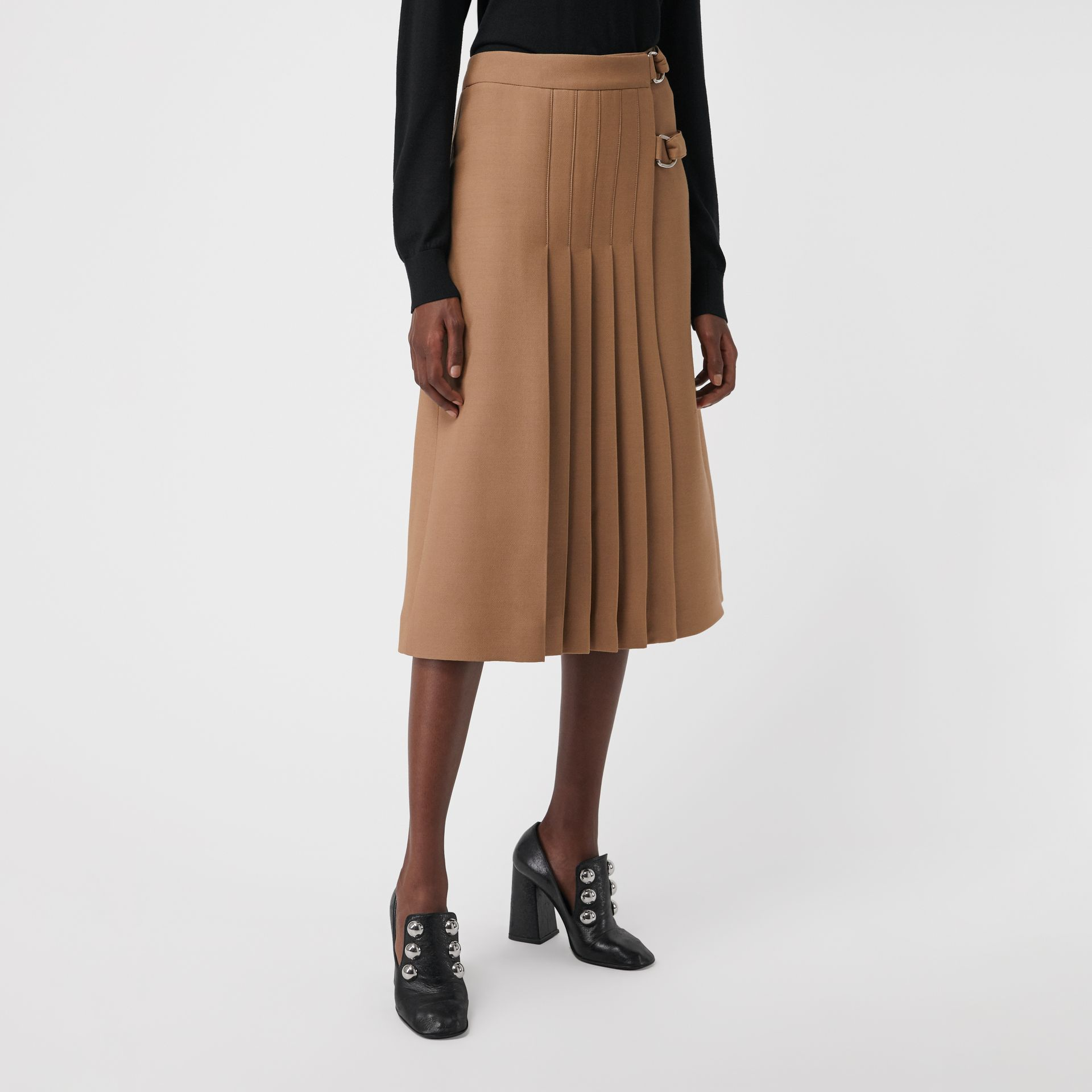 Wool Silk Kilt in Camel - Women | Burberry - gallery image 4