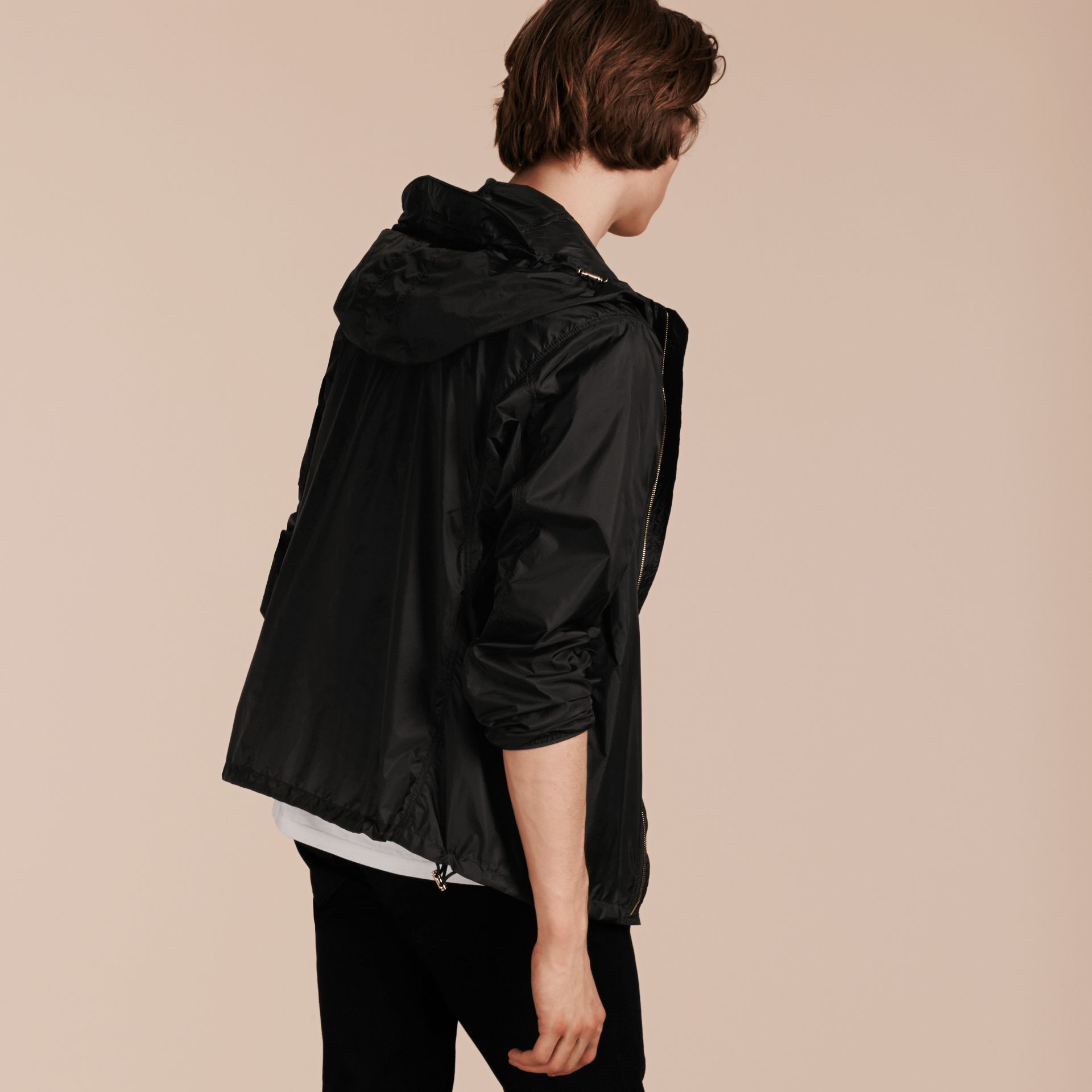 Black Ultra-lightweight Jacket with Hood Black - gallery image 3