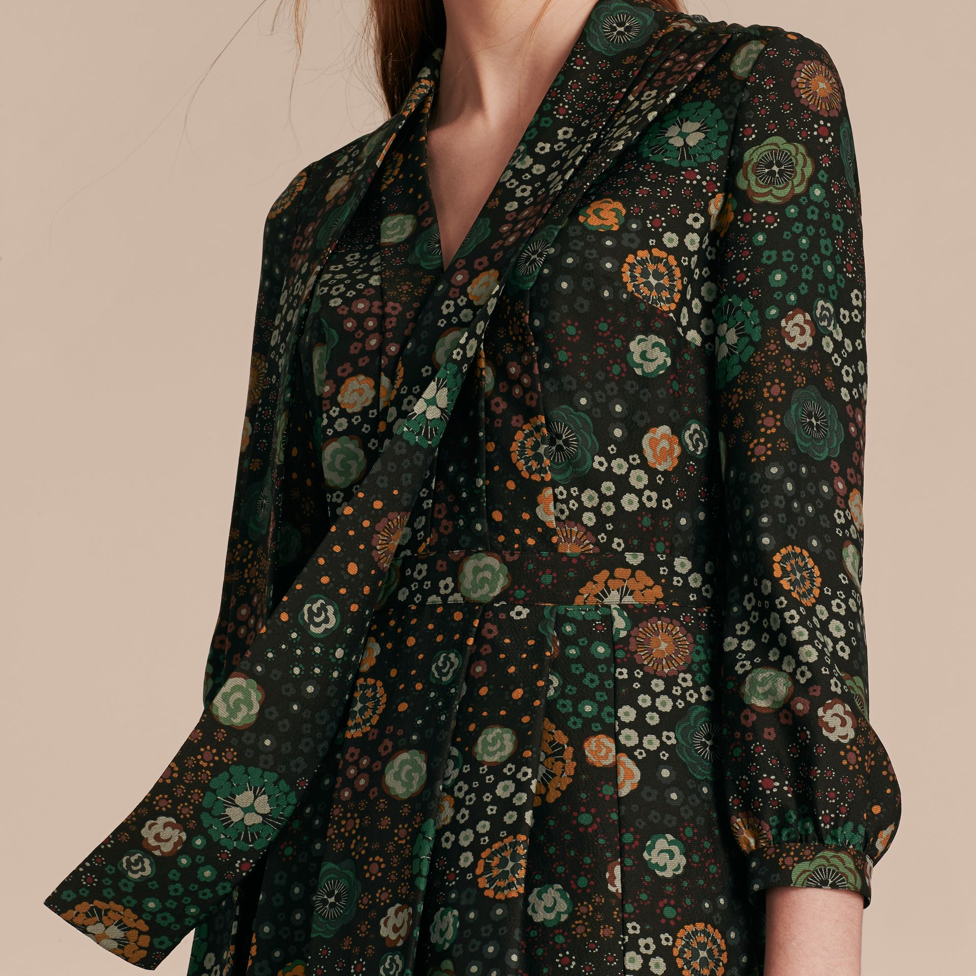 Pigment green Floral Silk Dress - gallery image 5