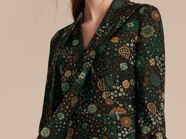 Pigment green Floral Silk Dress - cell image 4