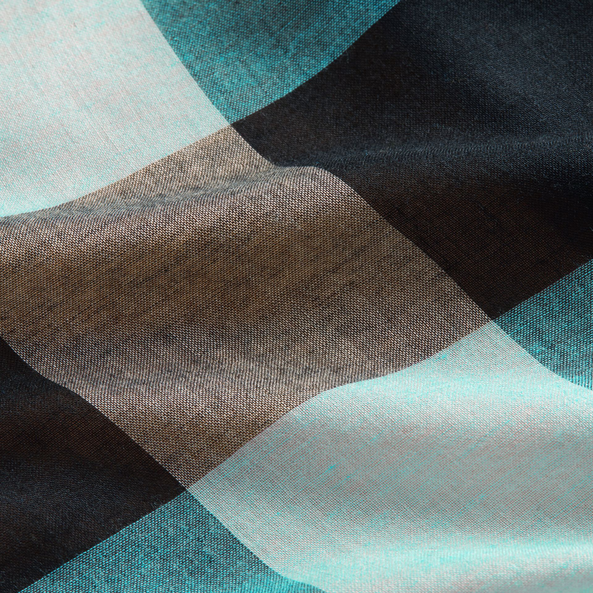 Check Modal and Wool Square Scarf Slate Blue - gallery image 2
