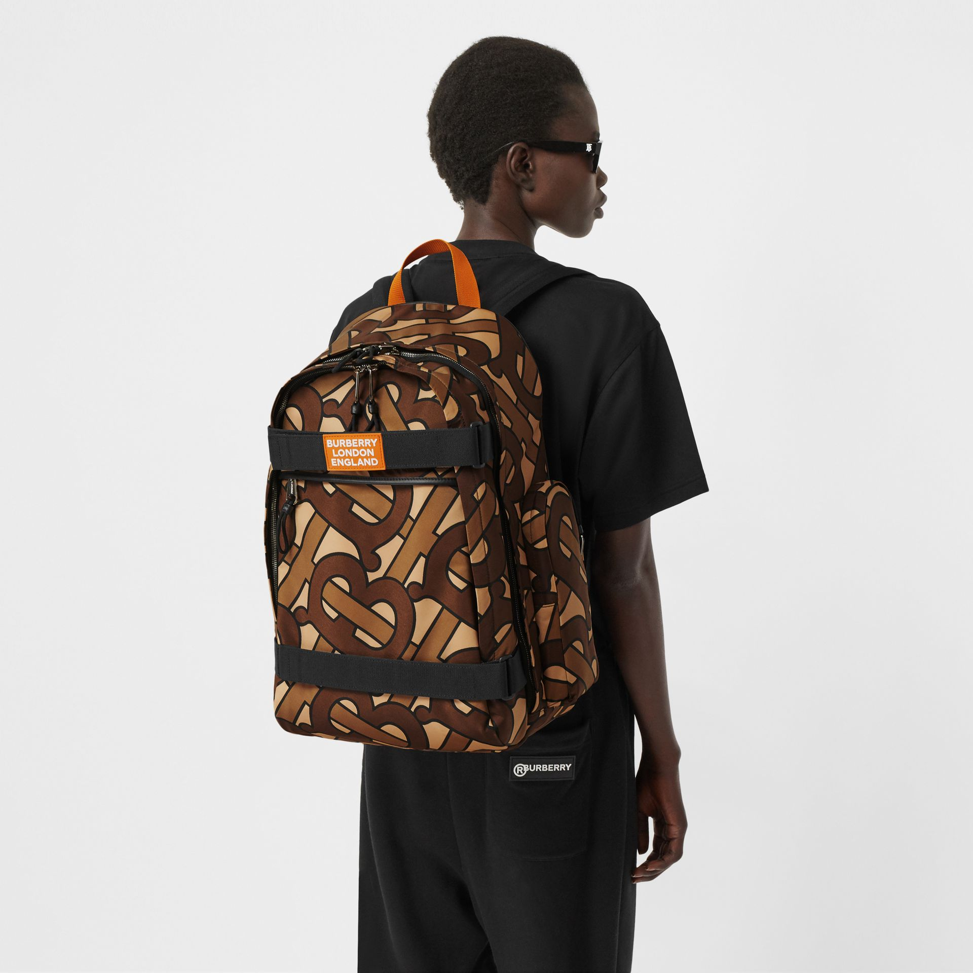Large Leather Trim Monogram Print Nevis Backpack in Bridle Brown | Burberry United Kingdom - gallery image 2