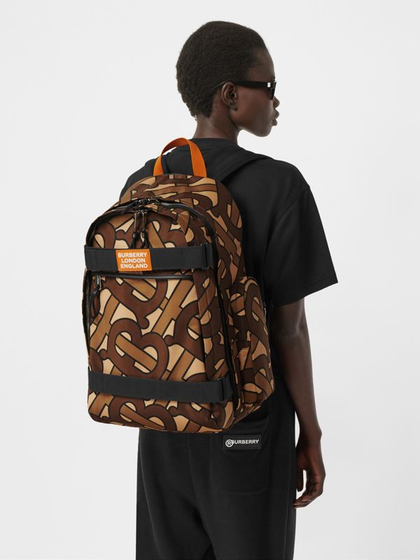 Large Leather Trim Monogram Print Nevis Backpack in Bridle Brown | Burberry - cell image 2
