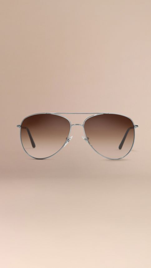 Nickel Check Arm Aviator Sunglasses Nickel - Image 4
