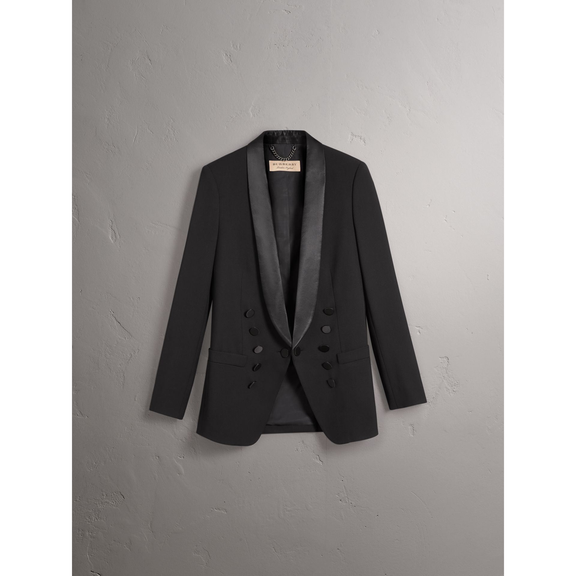 Silk Satin Detail Wool Tailored Jacket in Black - Women | Burberry Australia - gallery image 3