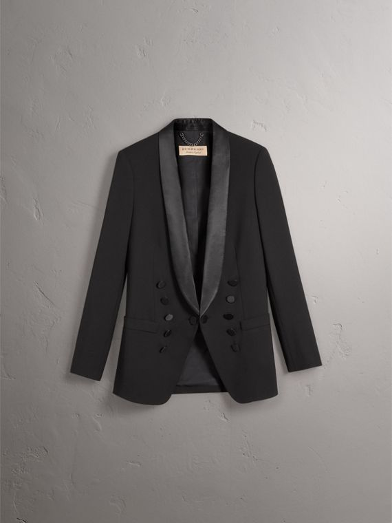 Silk Satin Detail Wool Tailored Jacket in Black - Women | Burberry - cell image 3
