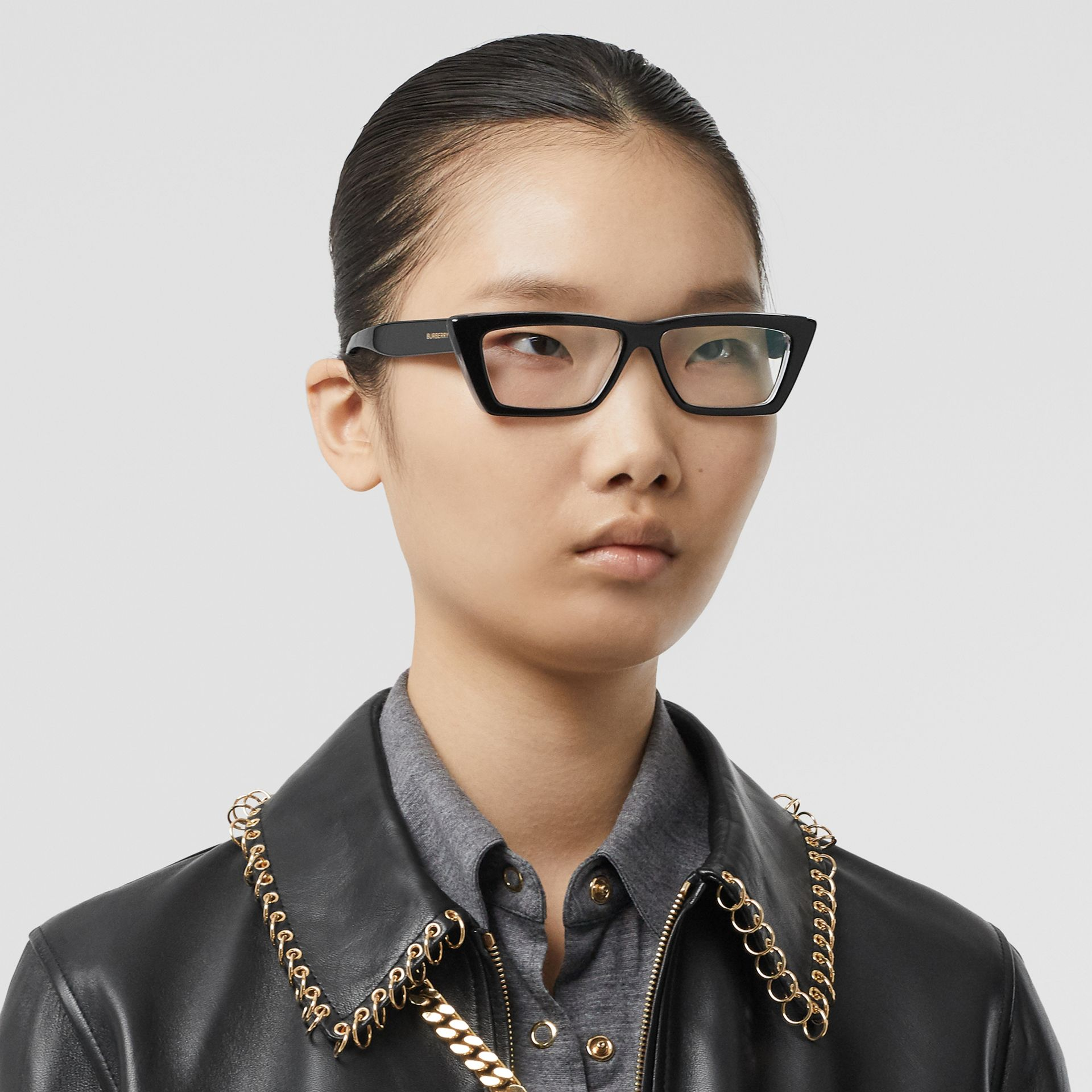 Rectangular Optical Frames in Black - Women | Burberry Canada - gallery image 2