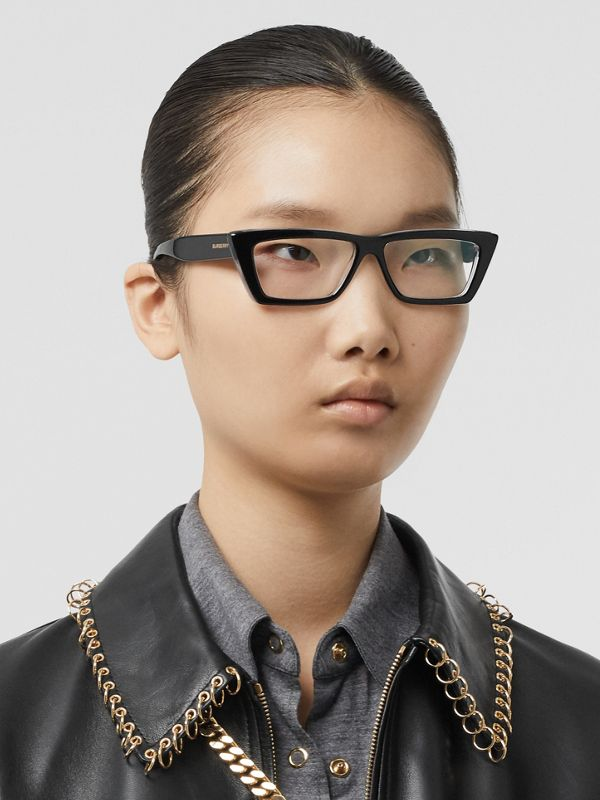 Rectangular Optical Frames in Black - Women | Burberry United States - cell image 2