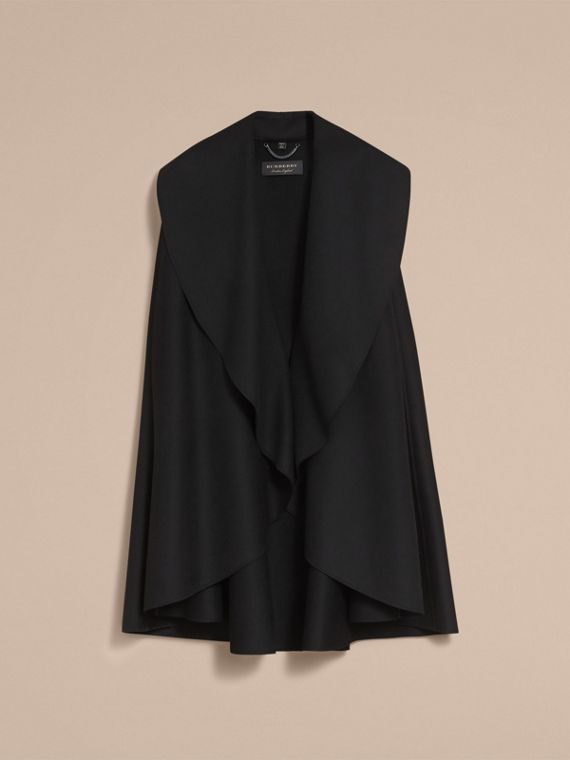 Oversize Collar Double-Faced Military Wool Cape - cell image 3