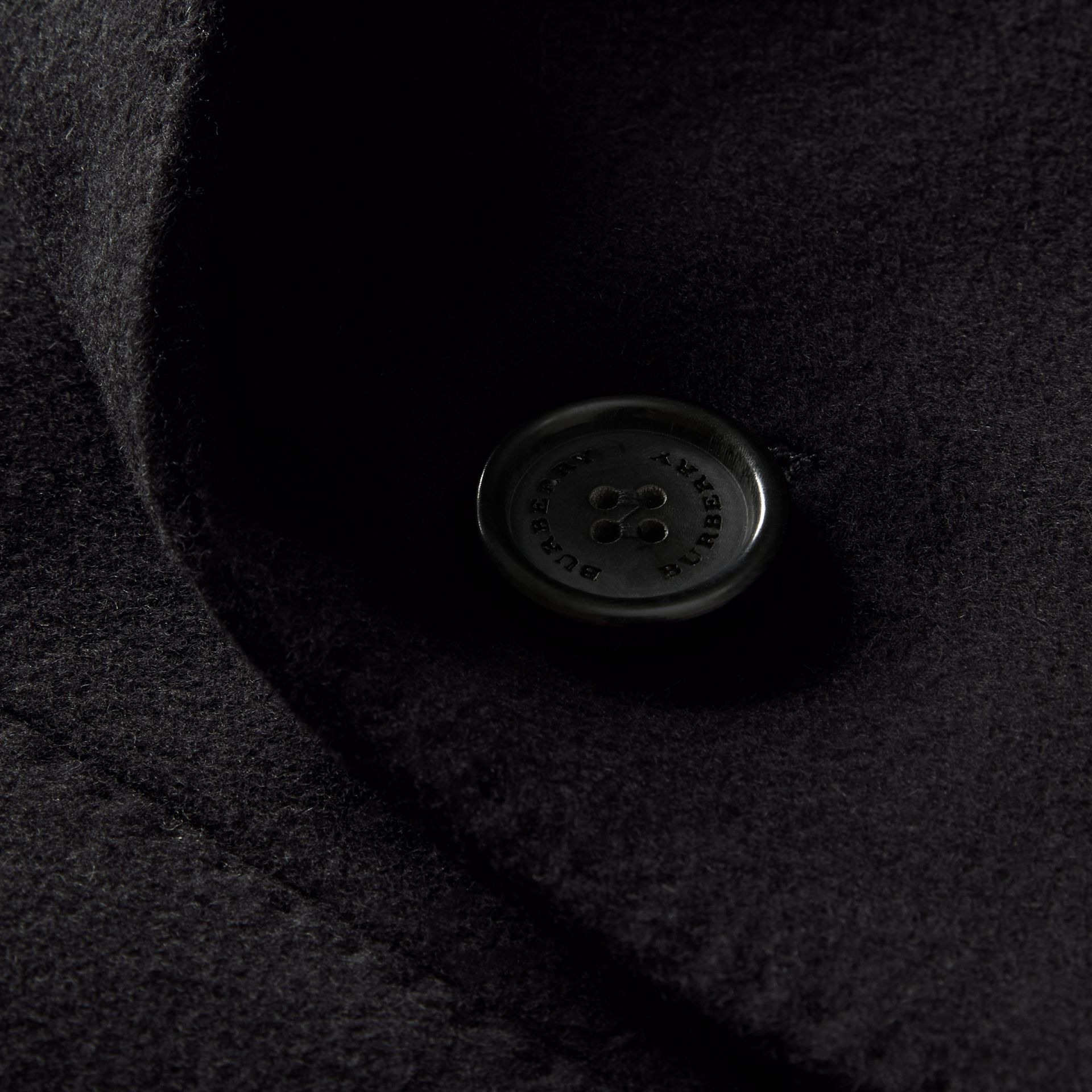 Black Double-breasted Wool Cashmere Tailored Coat - gallery image 2